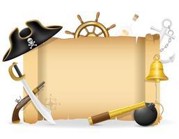 ilustração em vetor ícones conceito pirata