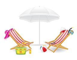 cadeira de praia e ilustração vetorial de guarda-sol vetor