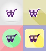 compras ilustração em vetor ícones plana