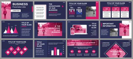 Apresentação de negócios slides modelos de elementos de infográfico. Pode ser usado para o modelo de apresentação, panfleto e folheto, brochura, relatório corporativo, marketing, publicidade, relatório anual, banner. vetor