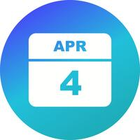 4 de abril data em um calendário único dia
