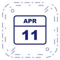 11 de abril Data em um calendário de dia único vetor