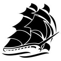 Ilustração em vetor velho veleiro alto