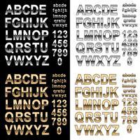 Fonte de alfabeto de efeito cromado e ouro com letras e números, vetor