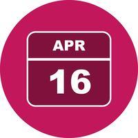 Data de 16 de abril em um calendário de dia único