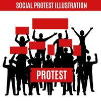 Composição de silhuetas de protesto social