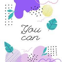 Doodle colorido formas com folhas e inspiradora citação de fundo vetor