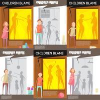 Conjunto de cartazes de altercação doméstica vetor