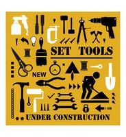 Um, jogo, de, ferramentas, silhuetas vetor