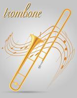 ilustração em vetor estoque trombone vento instrumentos musicais