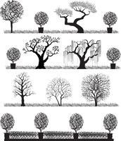 Silueta, de, árvores vetor