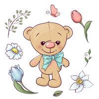 Conjunto de ursinho de pelúcia e flores. Desenho à mão. Ilustração vetorial