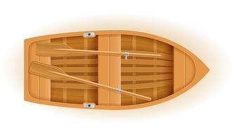 ilustração em vetor vista superior barco de madeira