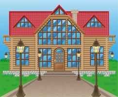 ilustração vetorial de casa de madeira