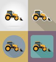 ilustração em vetor ícones plana trator