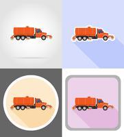 caminhão de limpeza e regando a ilustração em vetor ícones plana estrada