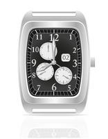 ilustração vetorial de relógio de pulso mecânico prata