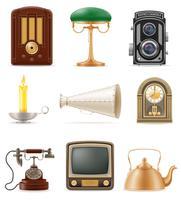 conjunto de ilustração em vetor estoque muito objetos retrô velho vintage ícones
