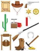 ilustração em vetor ocidental conjunto de ícones oeste selvagem