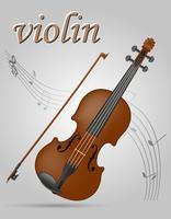 Ilustração em vetor stocki musical instrumentos vuolin