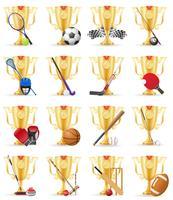 copos vencedor esportes ilustração vetorial de estoque de ouro vetor