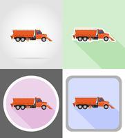caminhão limpando a neve e polvilhada na ilustração em vetor ícones plana estrada