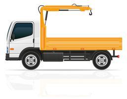 caminhão com um pequeno guindaste para ilustração vetorial de construção