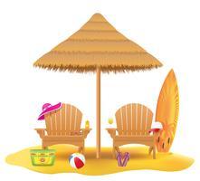 praia poltrona espreguiçadeira espreguiçadeira de madeira e guarda-chuva feita de palha e reed ilustração vetorial