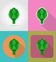 ícones planas vegetais de alcachofra com a ilustração do vetor de sombra