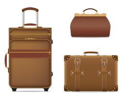 conjunto de ícones ilustração em vetor sacos viagem