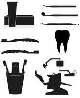 instrumentos odontológicos ilustração em vetor silhueta negra