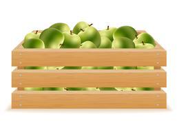 caixa de madeira de ilustração vetorial de maçãs vetor