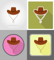 ilustração em vetor ícones plana de chapéu de vaqueiro oeste selvagem