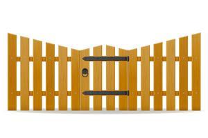cerca de madeira com ilustração vetorial de porta wicket
