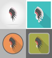mohawk hat wild west plana ícones ilustração vetorial