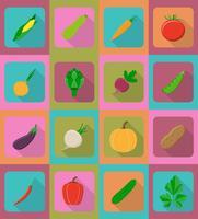 ícones planas de legumes com a ilustração do vetor de sombra