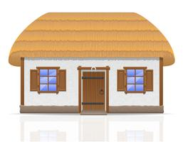 antiga casa de fazenda com uma ilustração do vetor de telhado de colmo