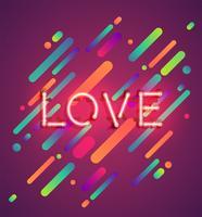 Palavra de néon no fundo colorido, ilustração vetorial