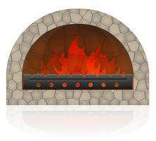 fogo ardente na ilustração vetorial de lareira vetor