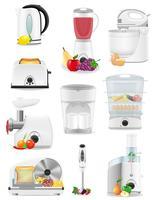 conjunto de aparelhos elétricos de ícones para a ilustração do vetor de cozinha