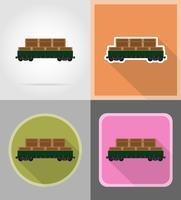 ilustração em vetor ícones transporte ferroviário carruagem plana