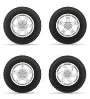conjunto de ícones roda de carro pneu da ilustração vetorial de disco