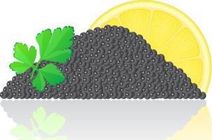 caviar preto com limão e salsa