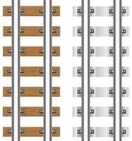 trilhos com travessas de betão e madeira vector illustration