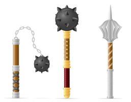 ilustração em vetor estoque medieval batalha maça