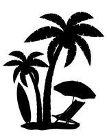 silhueta de ilustração vetorial de palmeiras