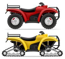 moto ATV em quatro rodas e caminhões fora ilustração vetorial de estradas