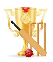 ilustração em vetor estoque ouro Copa vencedor de cricket