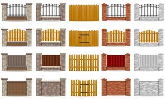 definir a vedação de ícones feita de ilustração em vetor de tijolo pedra de madeira