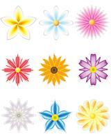 conjunto de ícones de flores para design vetor